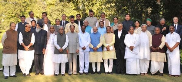 योजना आयोग पर विचार करे ला दिल्ली में भइल बइठका में शामिल होखे आइल मुख्यमंत्री लोग पीएम नरेन्द्र मोदी संगे.