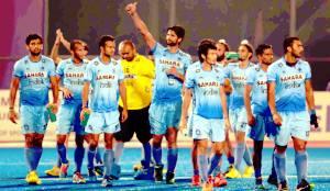 हालैण्ड के हरवाला बाद खुशी जतावत भारत के हाॅकी टीम.