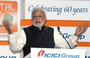 शुक का दिने मुंबई में डिजिटल गाँव अकोदरा के राष्ट्र के समर्पित करत पीएम मोदी. मौका रहल आईसीआईसीआई के 60वाँ स्थापना दिवस के.